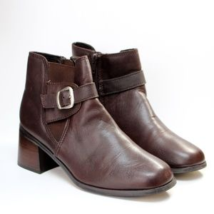 Wesley & Co. Brown Leather Block Heel Ankle Boots